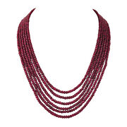 1498.90ct Natural Deep Red Ruby Beaded Gemstone Women's Necklace In Single Row
