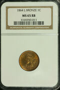 Indian Head Cent. 1864-l Ngc Ms 65 Red Brown. Lot 3165350-11