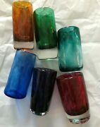 Stiglass Set Of 6 Assorted Heavy Art Glass Shooters Mint Condition With Tags