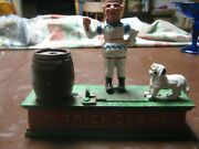 Vintage Cast Iron Trick Dog Circus Clown Reproduction Mechanical Coin Bank Works