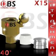 15x Dental Angled Ball Attachment 40anddeg + Silicon Cap + Metal Housing For Implant