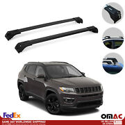 Roof Rack Cross Bars Luggage Side Rails Alu. Black Fits Jeep Compass 2017-2021
