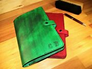 Personalized Leather Journal Cover. Custom Handmade Diary With Book . Green, Red