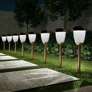 Set Of 8 Solar Pathway Led Lights Stainless Steel Copper Finish In Ground Stake
