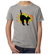 Vintage Scared Black Cat T-shirt Funny Graphic Tees Halloween Kidand039s T-shirts
