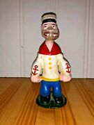 Vintage Popeye The Sailor Man Cast Iron Bank 6 Tall Rare Hand-painted Antique