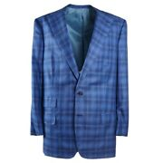 Oxxford Highest Quality Bright Blue Check Super 150s Wool Suit 44l Long