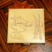 Art Deco French 18k Gold And Silver Rubies Jeweled Purse Powder Compact Mirror