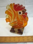 Vintage Chunky Acrylic Or Lucite Rooster Chicken Napkin Holder Country Decor