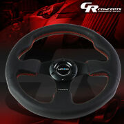 Nrg Reinforced 320mm Type-r Black Leather Red Stitch Steering Wheel Replacement