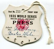 Scarce 1935 Detroit Tigers Chicago Cubs World Series Press Pass
