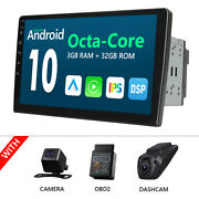 Obd+cam+dvr+2din Android 10 10.1 Car Stereo Gps Radio Touchscreen Bt 5.0 Usb Sd