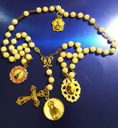 Antique Catholic White Glass Rosary 4 Medal Relic St Martin Patron Black People