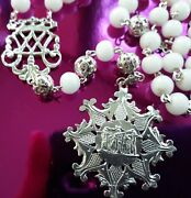 Catholic Antique Rosary Milk White Glass Medals Sterling Silver St John Abadesas