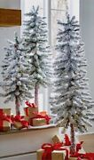 3and039 4and039 Or 5and039 Pre-lit Led Slim Flocked Christmas Tree Warm Winter White Raz New