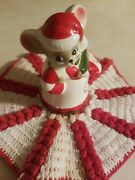 Vtg Josef Christmas Bell Mouse Figurine Mouse W Candy Cane