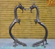 Huge China Chinese Feng Shui Bronze Lucky Zodiac Animal Dragon Loong Statue Pair