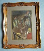 Charles Counhaye 1884 - 1971 - Les Jooeurs De Cartes Signed Oil Painting