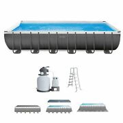 Intex 24and039 X 12and039 X 52 Rectangular Ultra Xtr Frame Pool W/ Sand Filter Used