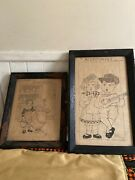 1920 Wood Framed Sketch Housekeeping Art Drawing Country Kitchen Decor Signed