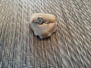 18 K Antique Ring With Larger Center Diamond Detailed Mounting