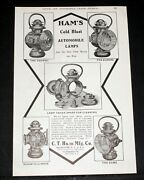1906 Old Magazine Print Ad, Ham's Cold Blast Auto Lamps, The Best Money Can Buy