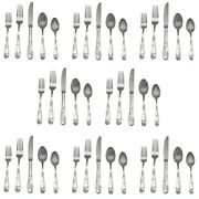 Lenox Poppies On Blue 18/8 Stainless 40pc. Flatware Set Service For Eight