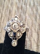 14k Antique Diamond And Sapphire Ring With Detail Workmanship