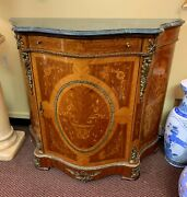 French Empire Style Cabinet Commode Marble Top Ormolu Brass Trim