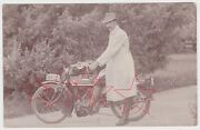 Original Antique Real Photo Postcard Man With His Speedwell Motorcycle C1910's