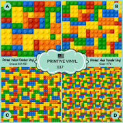 Colorful Kids Puzzle Block Toys Printed Siser Htv Oracal Craft Vinyl- 037