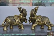Old Chinese Brass Feng Shui Auspicious Yuanbao Gourd Animal Elephant Statue Pair
