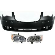 Bumper Cover And Headlights For 2008-2010 Chrysler Town And Country Molding Holes