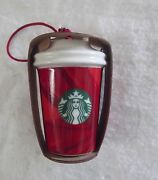 New Starbucks Holiday 2014 Ceramic Christmas Ornament/red Cup