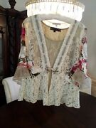 New Spencer Alexis 2pc Cream Lace Floral Jacket Olive Ribbon Andshell Bust 46 M