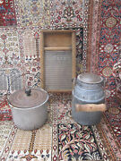 3 Kitchen Decor Antiques.porcelain Beer Canberry Bucket. Sm Glass Wash Board.