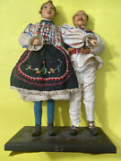 """1920s Antique Vintage Men Women Doll In Traditional Clothes 19"""" Height"""