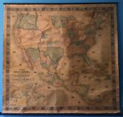 1851 Wall Map Of North America Published By Jacob Monk