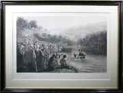 Antique Signed Lithograph By E Goodwyn Lewis – Baptism Of Christ - Dating 1877