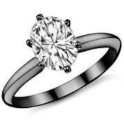 5.66ct Womenand039s Unique 14k Bg Oval Moissanite 6 Prong Solitaire Engagement Ring