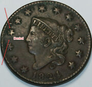 1824 Coronet Head Large Cent Damaged [sn01] You Will Receive The Coin Shown