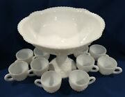 Vtg Mckee Concord Milk Glass 13 Punch Bowl Set 10 Cups Stand/base Wedding Exc