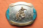 Vtg Johnson Held Turquoise Inlay Hand Crafted Cowboy Saddle Bronce Belt Buckle