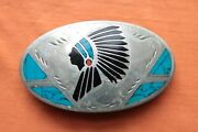 Vtg Johnson Held Handmade Indian Chief Turquoise Coral Inlay Belt Buckle