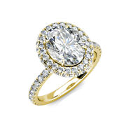 3.10ct Oval Moissanite And Diamond Halo Wedding Engagement Ring 14k Yellow Gold
