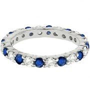2.50ct Blue Sapphire And Diamond Eternity Ring 14k White Gold
