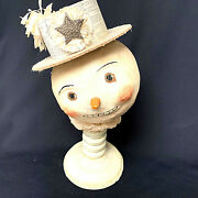 Vintage Nicol Sayre Snowman Midwest Newpaper Hat On Wooden Stand 2005