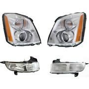 Hid Headlights Lamps Set Of 4 Left-and-right Hid/xenon Sedan Lh And Rh For Dts
