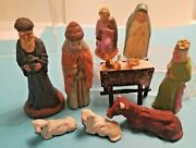 Atq Collection Of Nativity Figures - German Putz / French / Japan - 3/4 To 3