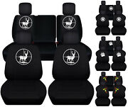 Front+rear Car Seat Covers Black W/army Star/deer Fits Jeep Liberty Limited02-07